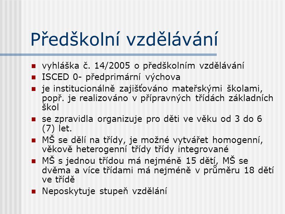 Předškolní vzdělávání vyhláška č.