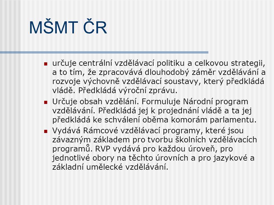 MŠMT ČR určuje centrální vzdělávací politiku a celkovou strategii, a to tím, že zpracovává dlouhodobý záměr vzdělávání a rozvoje výchovně vzdělávací soustavy, který předkládá vládě.