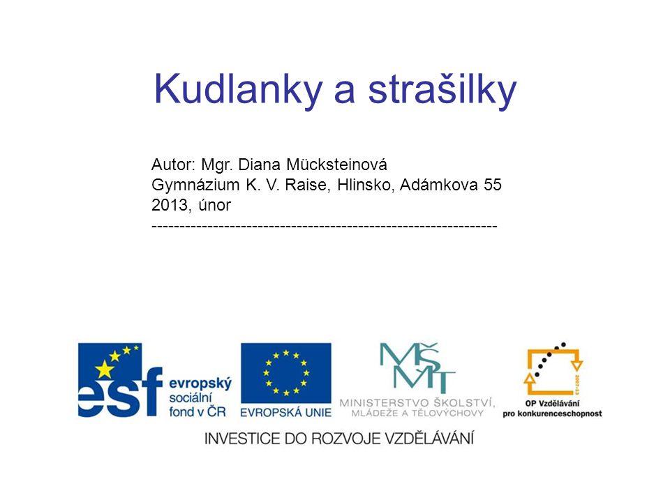 Kudlanky a strašilky Autor: Mgr. Diana Mücksteinová Gymnázium K.