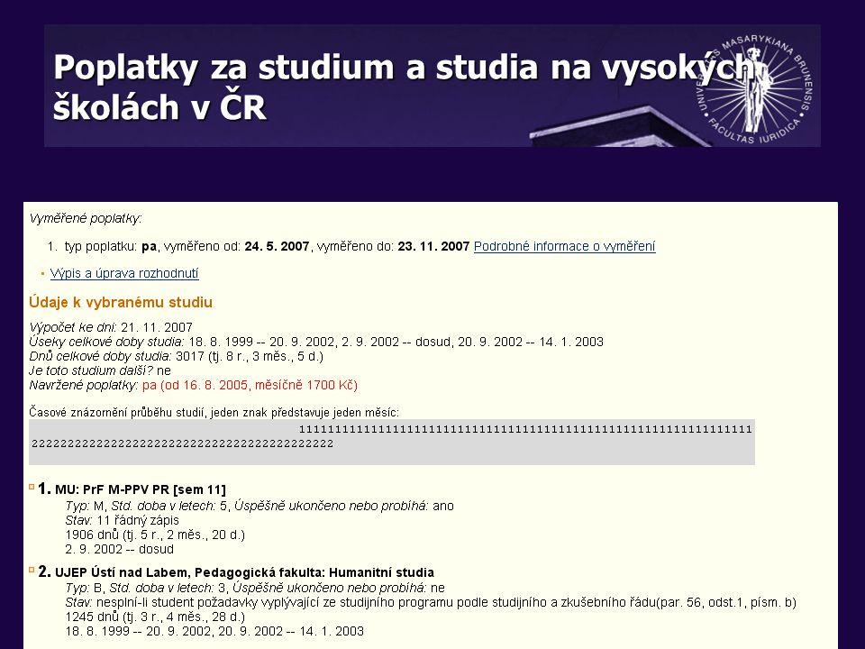 Poplatky za studium a studia na vysokých školách v ČR