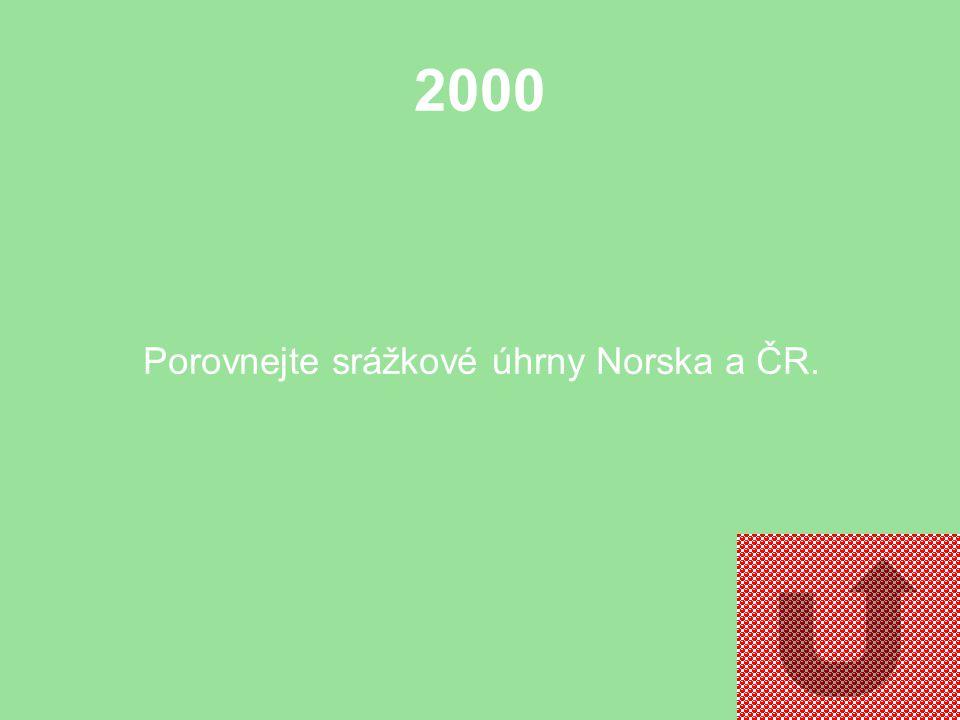 2000 Porovnejte srážkové úhrny Norska a ČR.