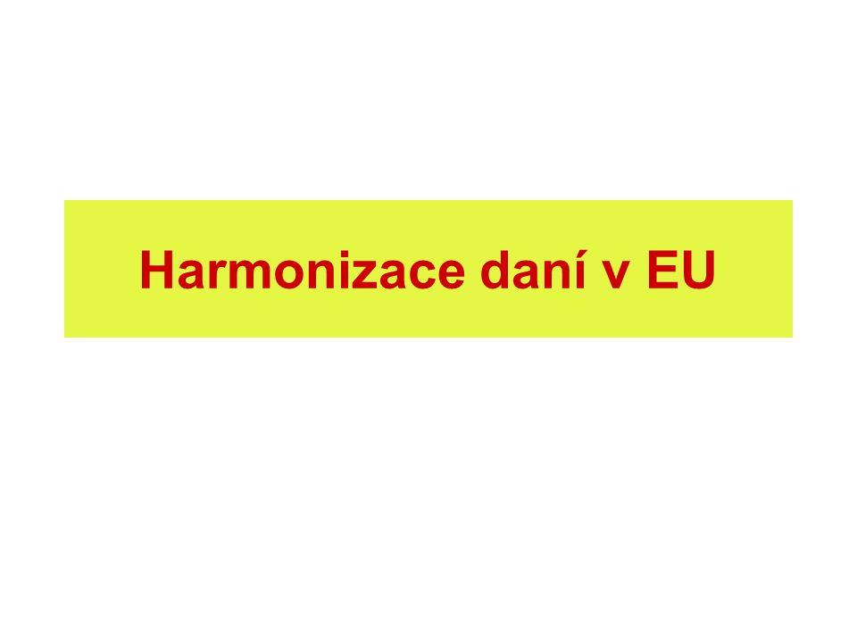 Daňová harmonizace daňová různost = daňová konkurence řešení: daňová koordinace (soft law), daňová harmonizace (určení daně, základ, sazby aj.) neochota členských států: fiskální nezávislost absolutně nezbytná pro každý stát v cílech EU daně nezmíněny daňová harmonizace = nutné zlo, aby fungoval vnitřní trh