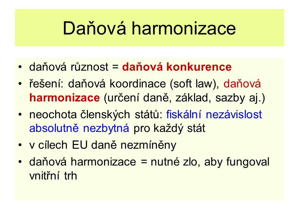 Daňová harmonizace daňová různost = daňová konkurence řešení: daňová koordinace (soft law), daňová harmonizace (určení daně, základ, sazby aj.) neocho