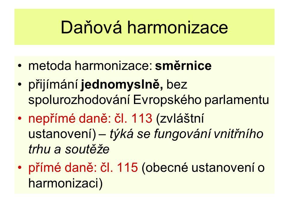 Daňová harmonizace metoda harmonizace: směrnice přijímání jednomyslně, bez spolurozhodování Evropského parlamentu nepřímé daně: čl. 113 (zvláštní usta