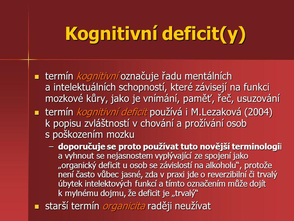 Kognitivní deficit(y) termín kognitivní označuje řadu mentálních a intelektuálních schopností, které závisejí na funkci mozkové kůry, jako je vnímání,