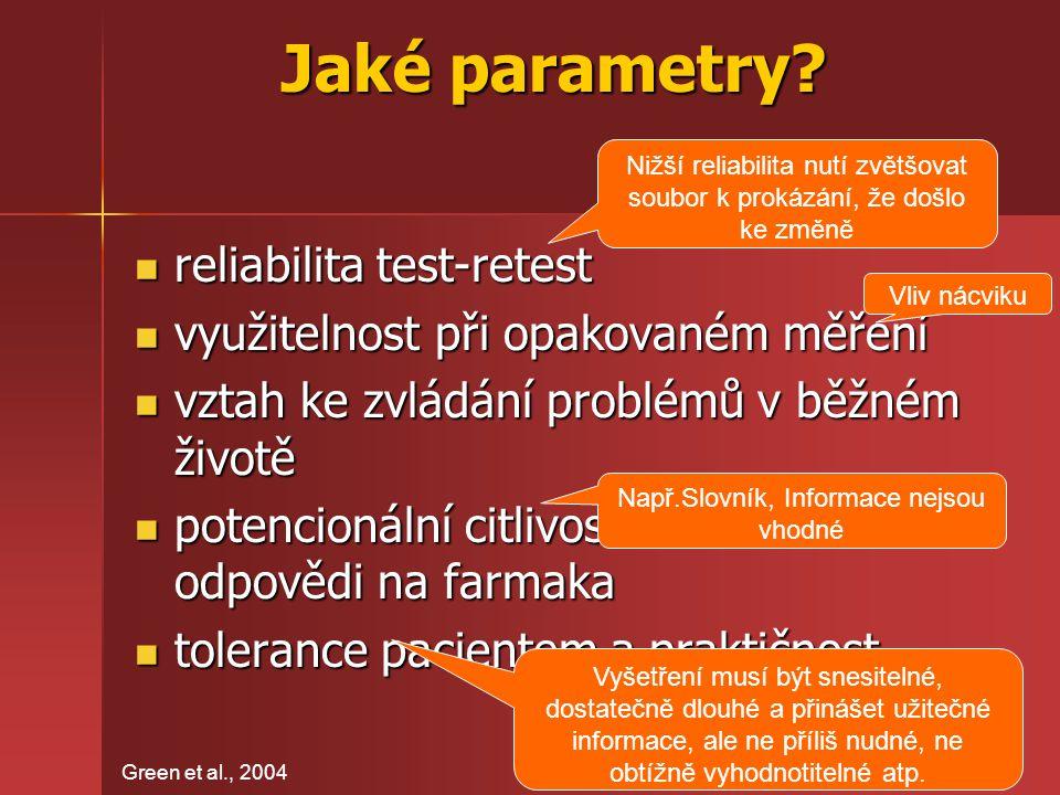 Jaké parametry? reliabilita test-retest reliabilita test-retest využitelnost při opakovaném měření využitelnost při opakovaném měření vztah ke zvládán