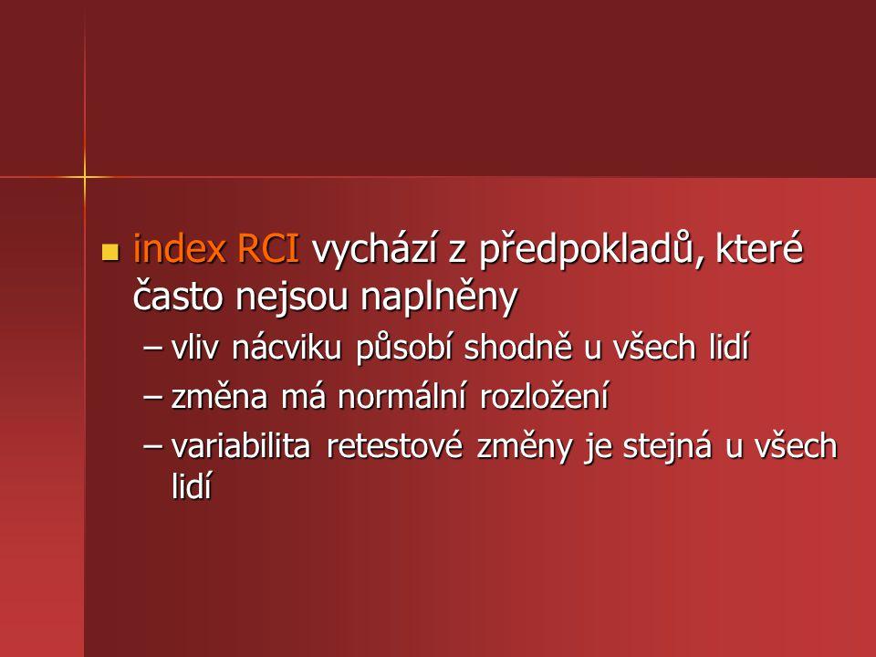 index RCI vychází z předpokladů, které často nejsou naplněny index RCI vychází z předpokladů, které často nejsou naplněny –vliv nácviku působí shodně