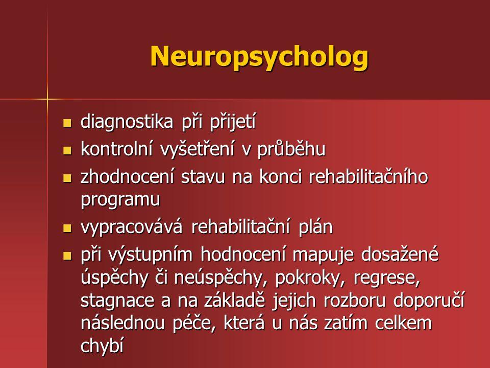 Neuropsycholog diagnostika při přijetí diagnostika při přijetí kontrolní vyšetření v průběhu kontrolní vyšetření v průběhu zhodnocení stavu na konci r