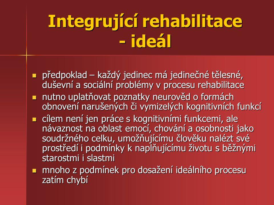 Integrující rehabilitace - ideál předpoklad – každý jedinec má jedinečné tělesné, duševní a sociální problémy v procesu rehabilitace předpoklad – každ