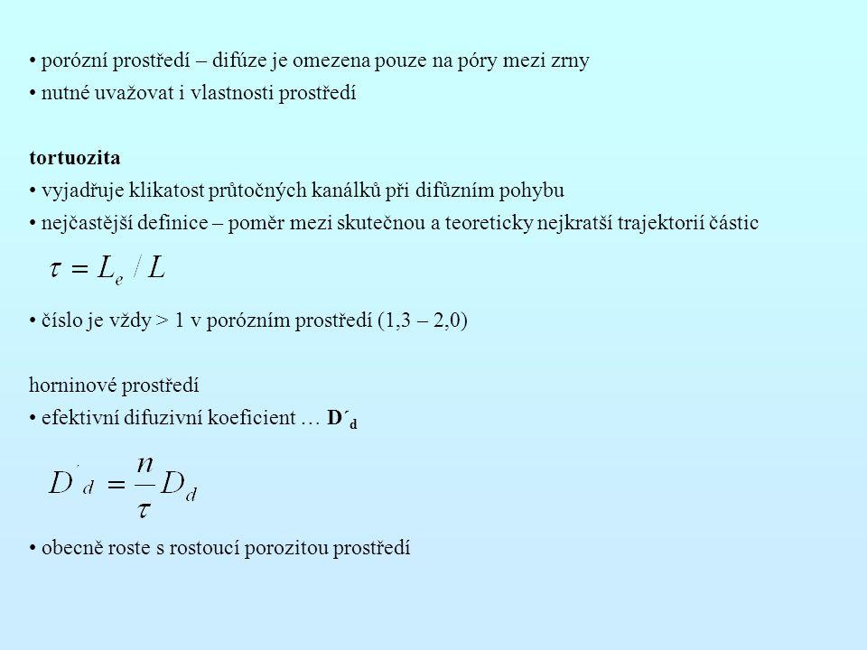 porózní prostředí – difúze je omezena pouze na póry mezi zrny nutné uvažovat i vlastnosti prostředí tortuozita vyjadřuje klikatost průtočných kanálků při difůzním pohybu nejčastější definice – poměr mezi skutečnou a teoreticky nejkratší trajektorií částic číslo je vždy > 1 v porózním prostředí (1,3 – 2,0) horninové prostředí efektivní difuzivní koeficient … D´ d obecně roste s rostoucí porozitou prostředí
