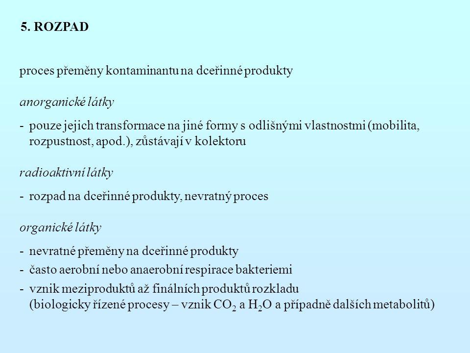 5. ROZPAD proces přeměny kontaminantu na dceřinné produkty anorganické látky -pouze jejich transformace na jiné formy s odlišnými vlastnostmi (mobilit