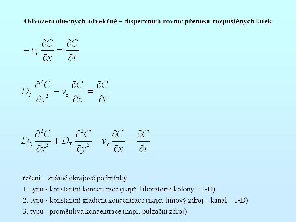 Odvození obecných advekčně – disperzních rovnic přenosu rozpuštěných látek řešení – známé okrajové podmínky 1.