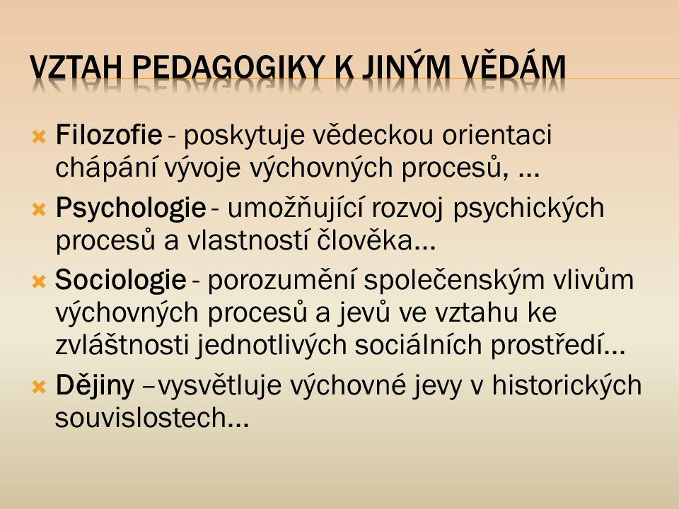  Filozofie - poskytuje vědeckou orientaci chápání vývoje výchovných procesů,...  Psychologie - umožňující rozvoj psychických procesů a vlastností čl