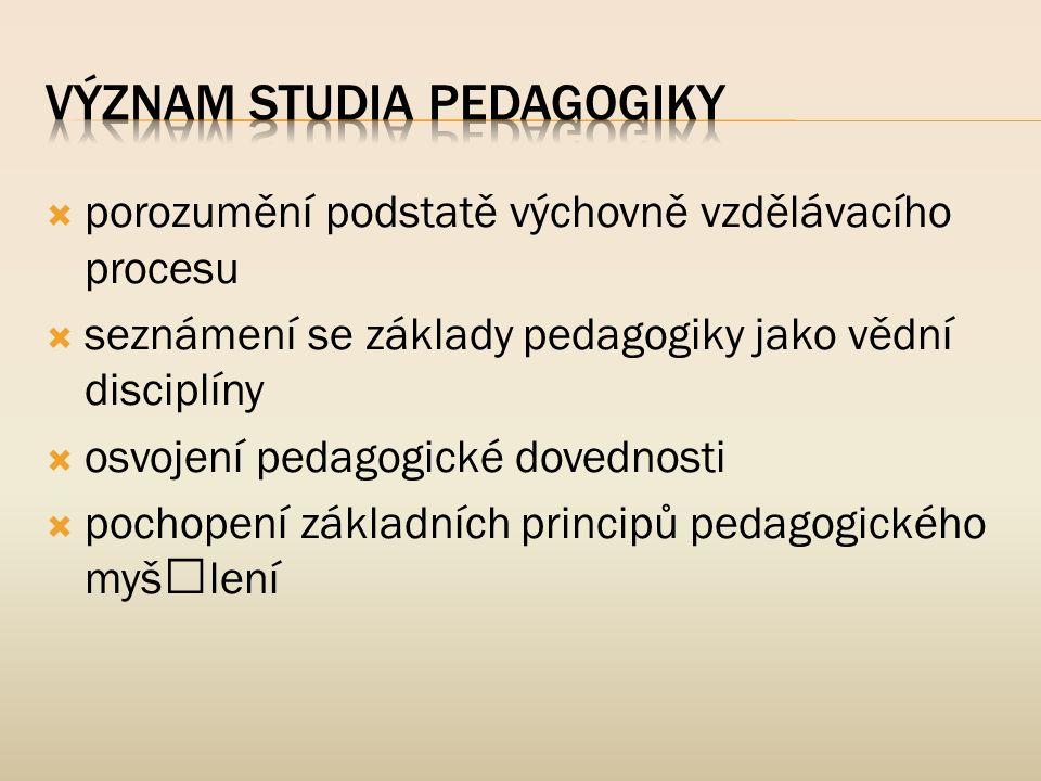  porozumění podstatě výchovně vzdělávacího procesu  seznámení se základy pedagogiky jako vědní disciplíny  osvojení pedagogické dovednosti  pochop