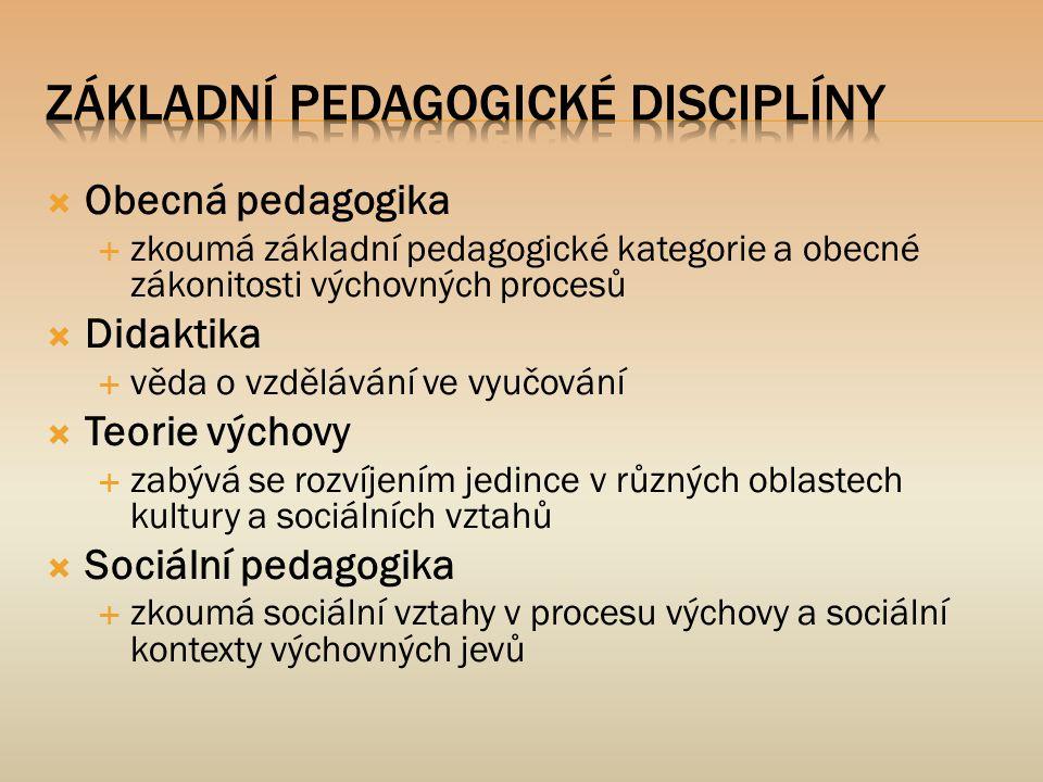  Obecná pedagogika  zkoumá základní pedagogické kategorie a obecné zákonitosti výchovných procesů  Didaktika  věda o vzdělávání ve vyučování  Teo