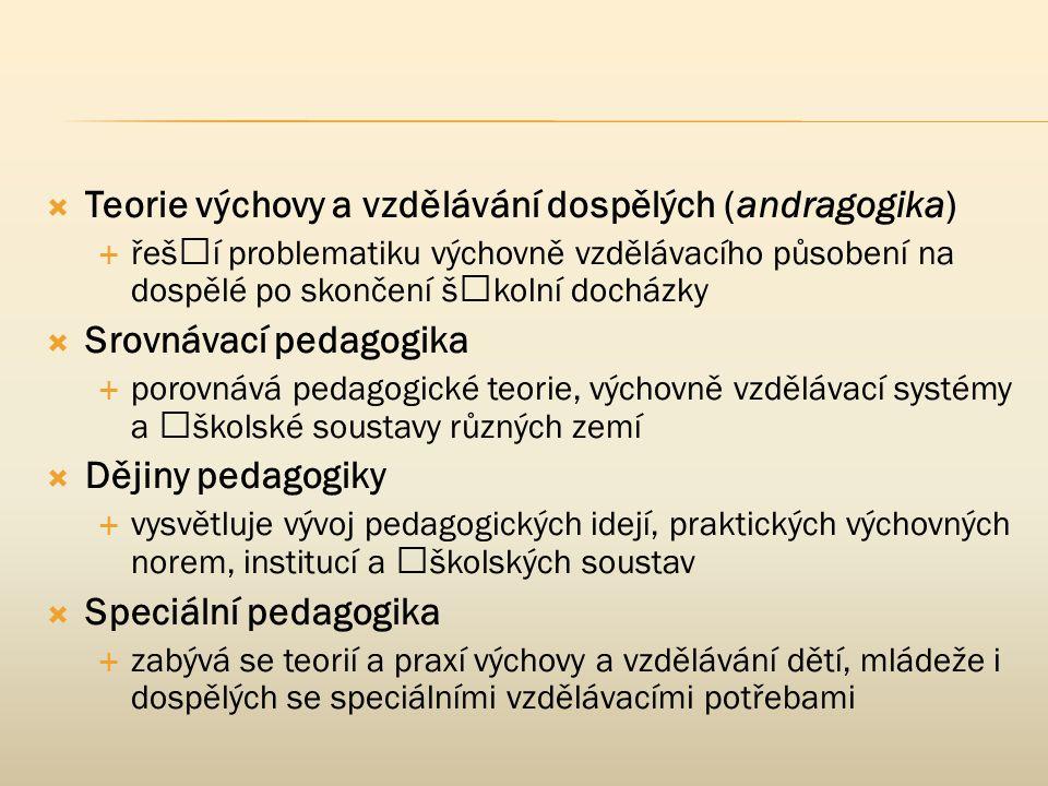  Teorie výchovy a vzdělávání dospělých (andragogika)  řeší problematiku výchovně vzdělávacího působení na dospělé po skončení školní docházky  Sr