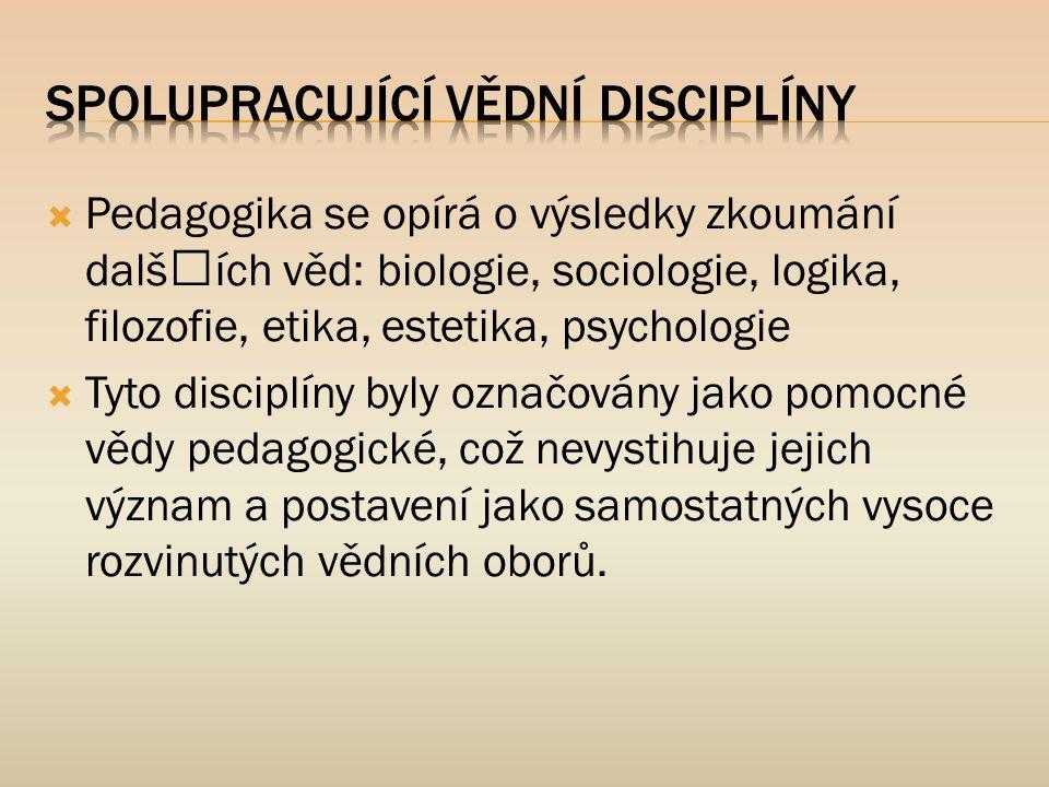  Pedagogika se opírá o výsledky zkoumání dalších věd: biologie, sociologie, logika, filozofie, etika, estetika, psychologie  Tyto disciplíny byly o