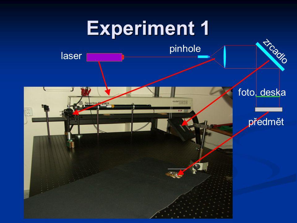 Experiment 1 laser pinhole zrcadlo foto. deska předmět