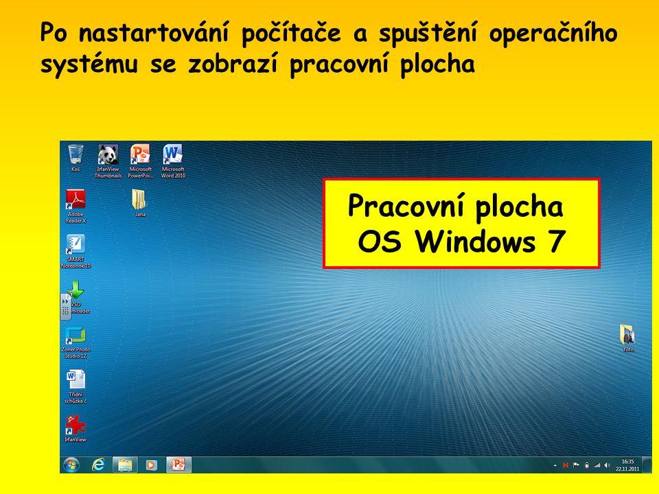 Po nastartování počítače a spuštění operačního systému se zobrazí pracovní plocha Pracovní plocha OS Windows 7