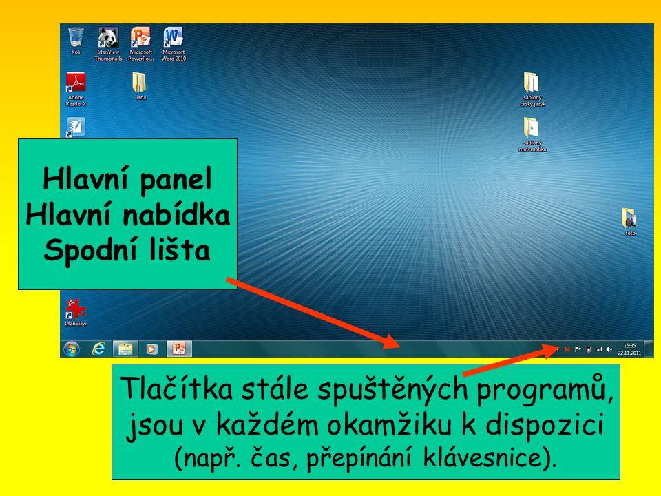 Hlavní panel Hlavní nabídka Spodní lišta Tlačítka stále spuštěných programů, jsou v každém okamžiku k dispozici (např.
