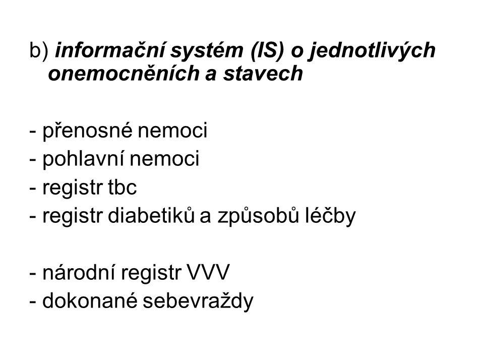 b) informační systém (IS) o jednotlivých onemocněních a stavech - přenosné nemoci - pohlavní nemoci - registr tbc - registr diabetiků a způsobů léčby