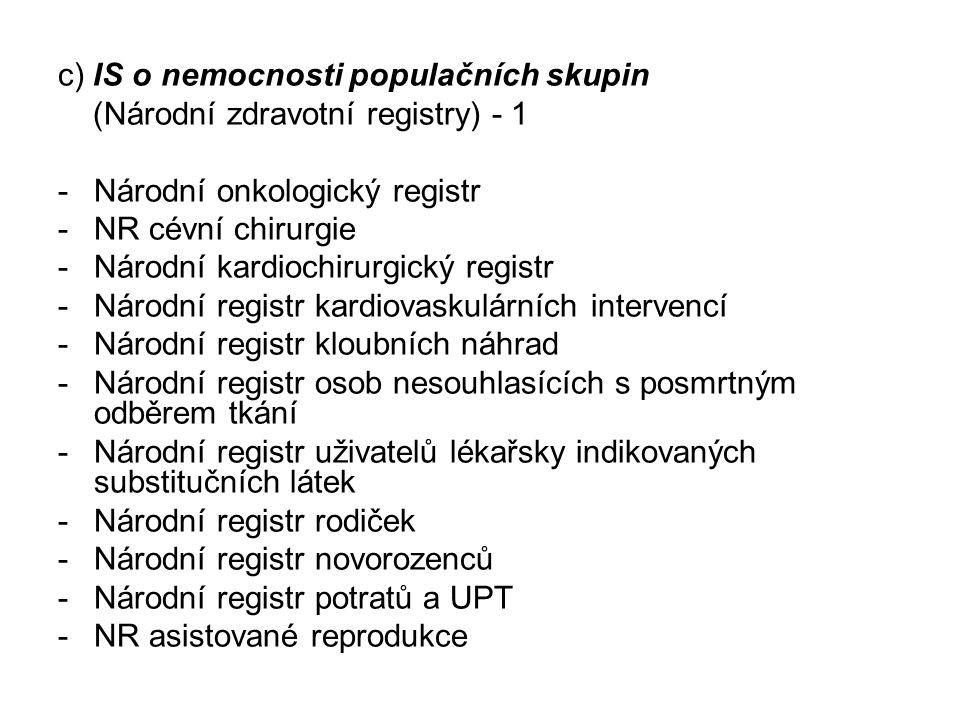 c) IS o nemocnosti populačních skupin (Národní zdravotní registry) - 1 -Národní onkologický registr -NR cévní chirurgie -Národní kardiochirurgický reg