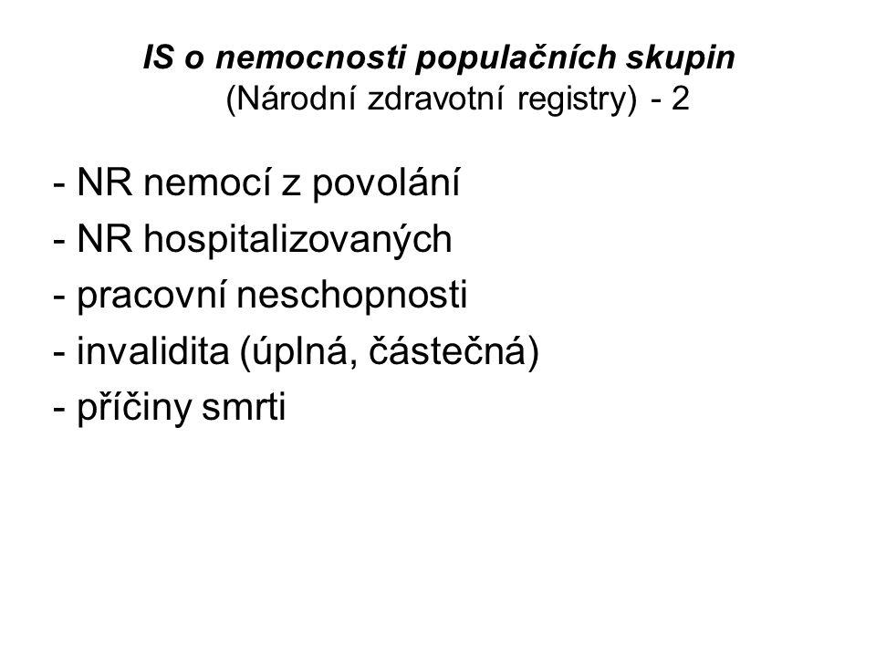IS o nemocnosti populačních skupin (Národní zdravotní registry) - 2 - NR nemocí z povolání - NR hospitalizovaných - pracovní neschopnosti - invalidita
