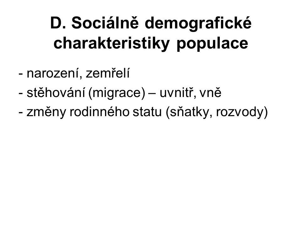 D. Sociálně demografické charakteristiky populace - narození, zemřelí - stěhování (migrace) – uvnitř, vně - změny rodinného statu (sňatky, rozvody)