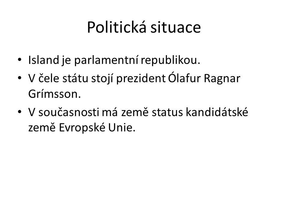 Politická situace Island je parlamentní republikou. V čele státu stojí prezident Ólafur Ragnar Grímsson. V současnosti má země status kandidátské země