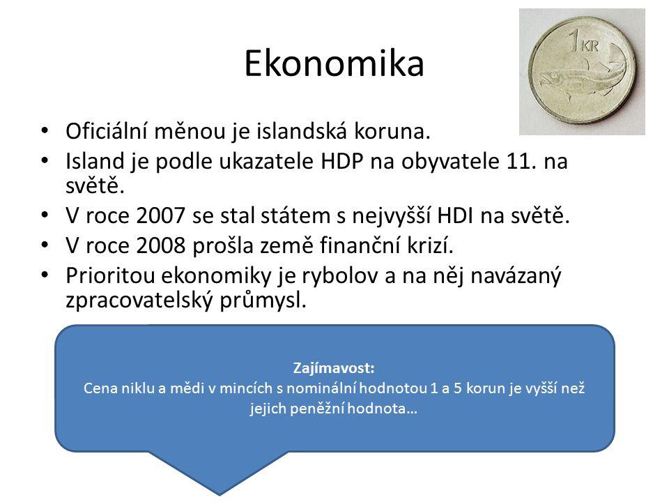 Ekonomika Oficiální měnou je islandská koruna. Island je podle ukazatele HDP na obyvatele 11. na světě. V roce 2007 se stal státem s nejvyšší HDI na s