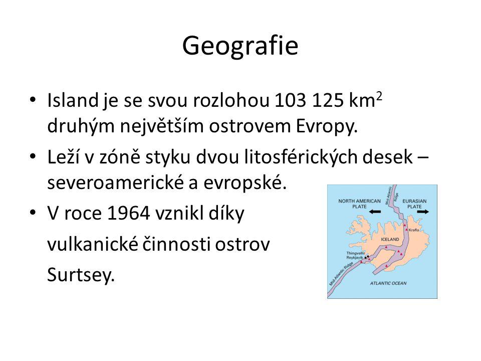 Geografie Island je se svou rozlohou 103 125 km 2 druhým největším ostrovem Evropy. Leží v zóně styku dvou litosférických desek – severoamerické a evr