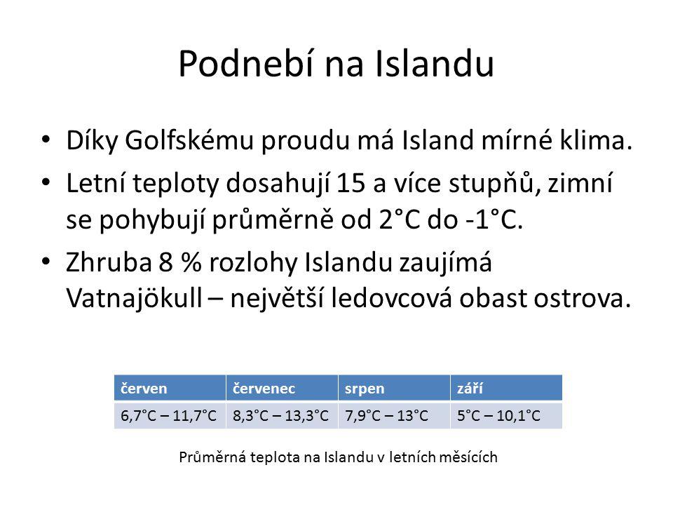 Podnebí na Islandu Díky Golfskému proudu má Island mírné klima. Letní teploty dosahují 15 a více stupňů, zimní se pohybují průměrně od 2°C do -1°C. Zh