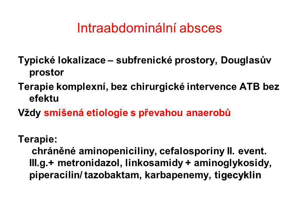 Intraabdominální absces Typické lokalizace – subfrenické prostory, Douglasův prostor Terapie komplexní, bez chirurgické intervence ATB bez efektu Vždy