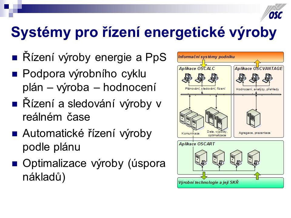 Systémy pro řízení energetické výroby Řízení výroby energie a PpS Podpora výrobního cyklu plán – výroba – hodnocení Řízení a sledování výroby v reálném čase Automatické řízení výroby podle plánu Optimalizace výroby (úspora nákladů)