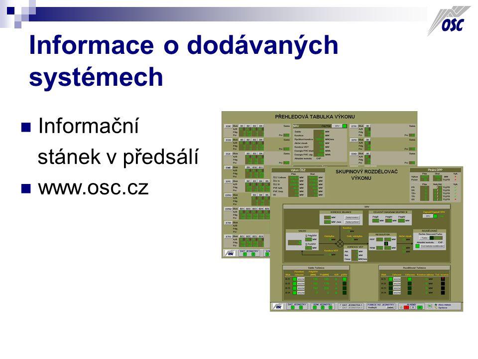 Informace o dodávaných systémech Informační stánek v předsálí www.osc.cz