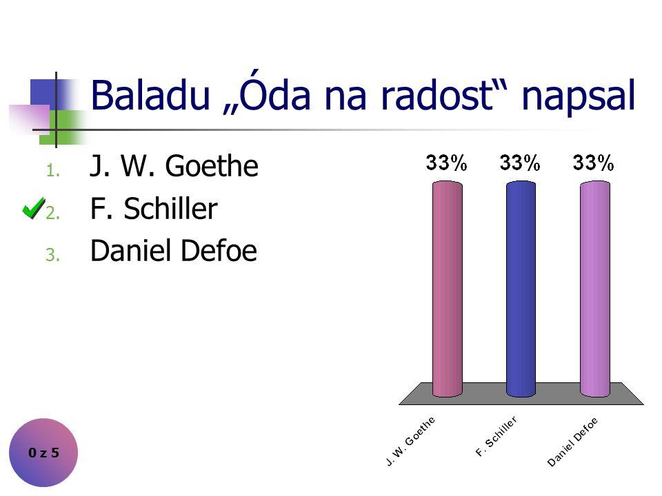 "Baladu ""Óda na radost napsal 0 z 5 1. J. W. Goethe 2. F. Schiller 3. Daniel Defoe"