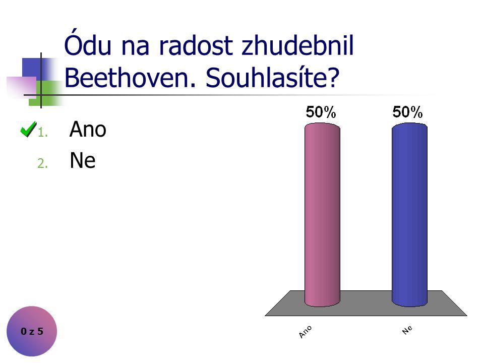 Ódu na radost zhudebnil Beethoven. Souhlasíte? 1. Ano 2. Ne 0 z 5