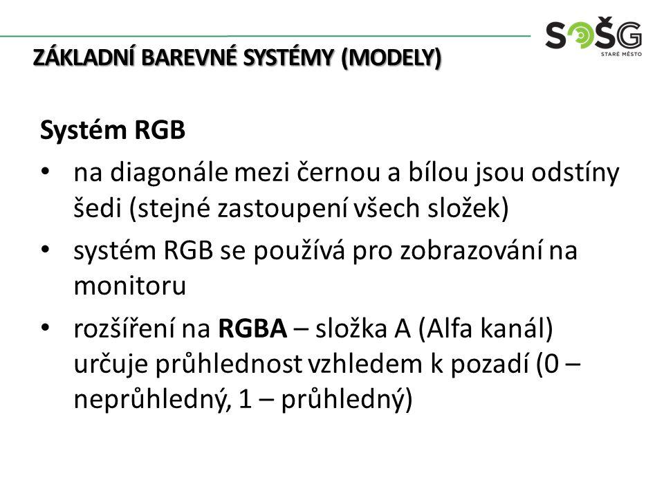 ZÁKLADNÍ BAREVNÉ SYSTÉMY (MODELY) Systém RGB na diagonále mezi černou a bílou jsou odstíny šedi (stejné zastoupení všech složek) systém RGB se používá