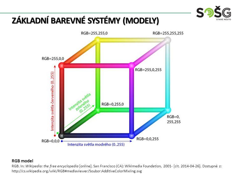ZÁKLADNÍ BAREVNÉ SYSTÉMY (MODELY) RGB model RGB. In: Wikipedia: the free encyclopedia [online]. San Francisco (CA): Wikimedia Foundation, 2001- [cit.
