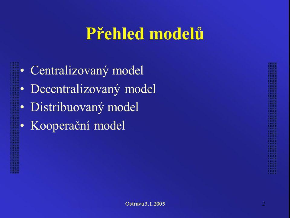 Ostrava 3.1.20052 Přehled modelů Centralizovaný model Decentralizovaný model Distribuovaný model Kooperační model