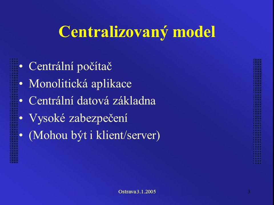 Ostrava 3.1.20053 Centralizovaný model Centrální počítač Monolitická aplikace Centrální datová základna Vysoké zabezpečení (Mohou být i klient/server)
