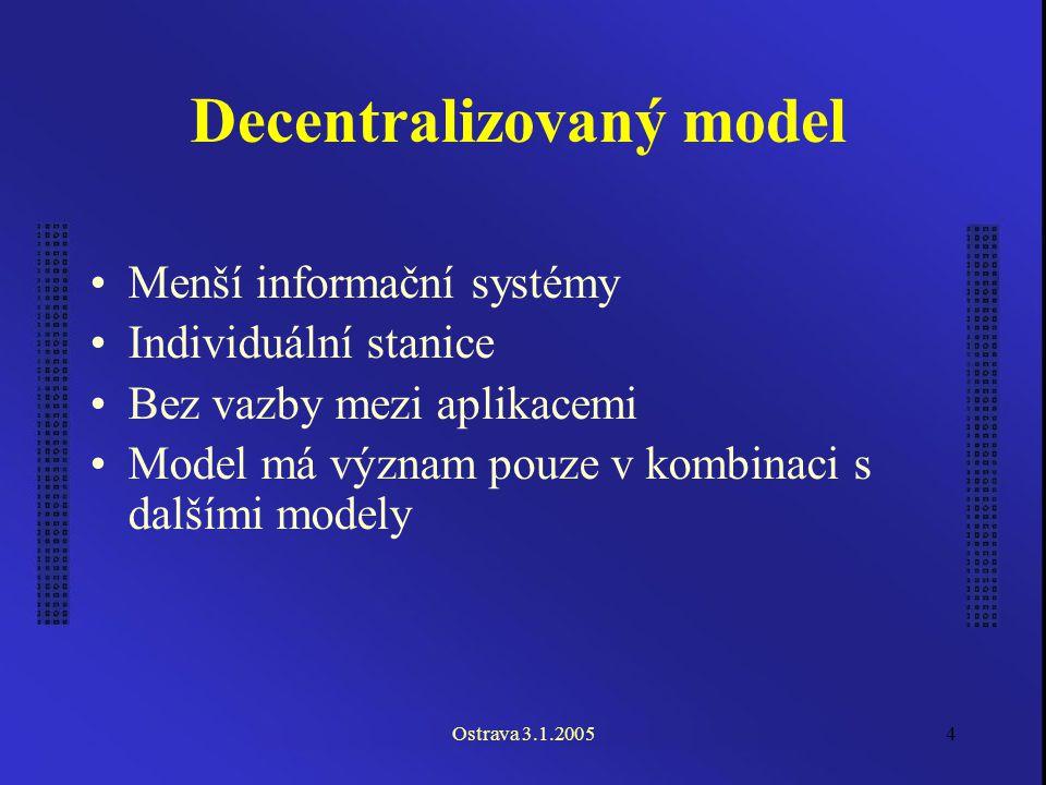 Ostrava 3.1.20054 Decentralizovaný model Menší informační systémy Individuální stanice Bez vazby mezi aplikacemi Model má význam pouze v kombinaci s dalšími modely