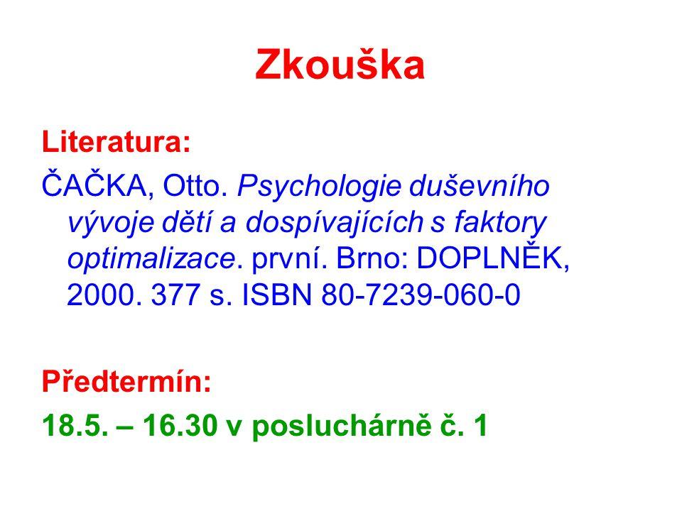 Zkouška Literatura: ČAČKA, Otto. Psychologie duševního vývoje dětí a dospívajících s faktory optimalizace. první. Brno: DOPLNĚK, 2000. 377 s. ISBN 80-