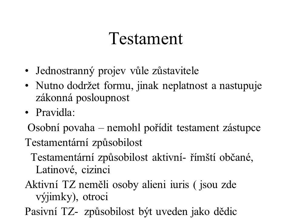 Testament Jednostranný projev vůle zůstavitele Nutno dodržet formu, jinak neplatnost a nastupuje zákonná posloupnost Pravidla: Osobní povaha – nemohl