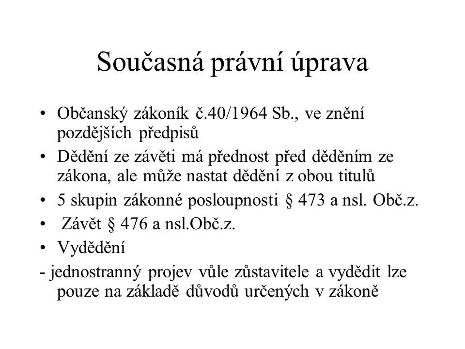 Současná právní úprava Občanský zákoník č.40/1964 Sb., ve znění pozdějších předpisů Dědění ze závěti má přednost před děděním ze zákona, ale může nast