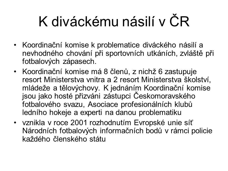 K diváckému násilí v ČR Koordinační komise k problematice diváckého násilí a nevhodného chování při sportovních utkáních, zvláště při fotbalových zápa
