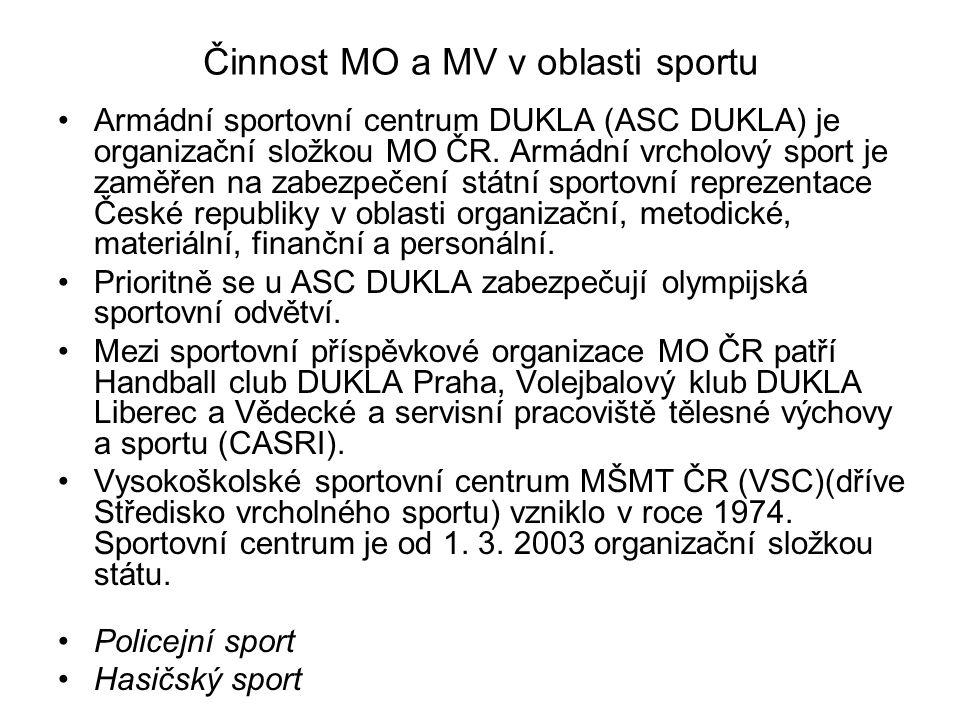 Činnost MO a MV v oblasti sportu Armádní sportovní centrum DUKLA (ASC DUKLA) je organizační složkou MO ČR. Armádní vrcholový sport je zaměřen na zabez