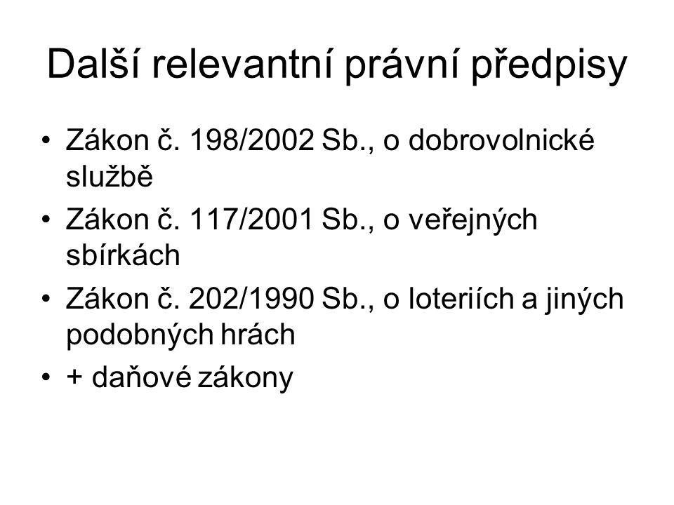 Další relevantní právní předpisy Zákon č. 198/2002 Sb., o dobrovolnické službě Zákon č. 117/2001 Sb., o veřejných sbírkách Zákon č. 202/1990 Sb., o lo