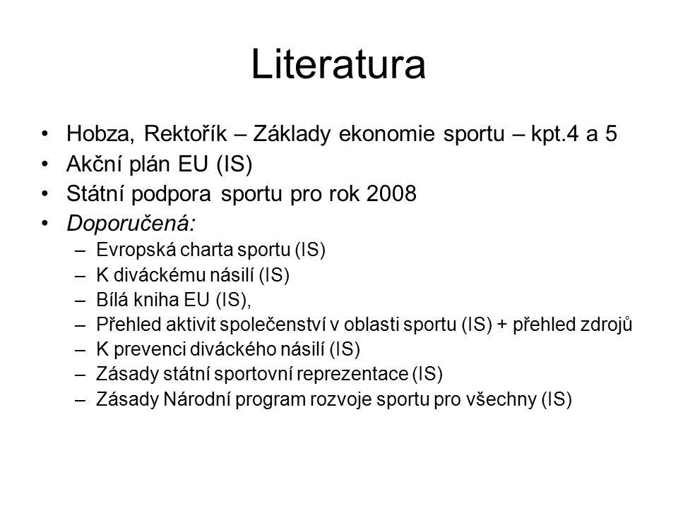 Literatura Hobza, Rektořík – Základy ekonomie sportu – kpt.4 a 5 Akční plán EU (IS) Státní podpora sportu pro rok 2008 Doporučená: –Evropská charta sp