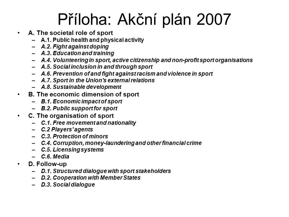 Příloha: Akční plán 2007 A. The societal role of sport –A.1. Public health and physical activity –A.2. Fight against doping –A.3. Education and traini